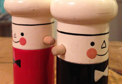"Soviet ""Salvo""  Hand Painted Wood Salt & Pepper"