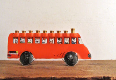 "Vintage ISRAEL ""Andreas Meyer"" Glass Candle Stand BUS"