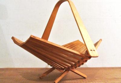 Vintage Soviet Folding Wood Basket